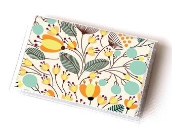 NEW Handmade Vinyl Card Holder - Piano Floral  / card case, vinyl wallet, women's wallet, small wallet, pretty, gift, cute, floral