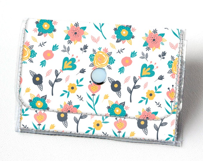 Handmade Vinyl Accordion Wallet - Spring Flowers / small wallet, snap, cute, card case, vinyl wallet, womens wallet, vegan wallet, floral