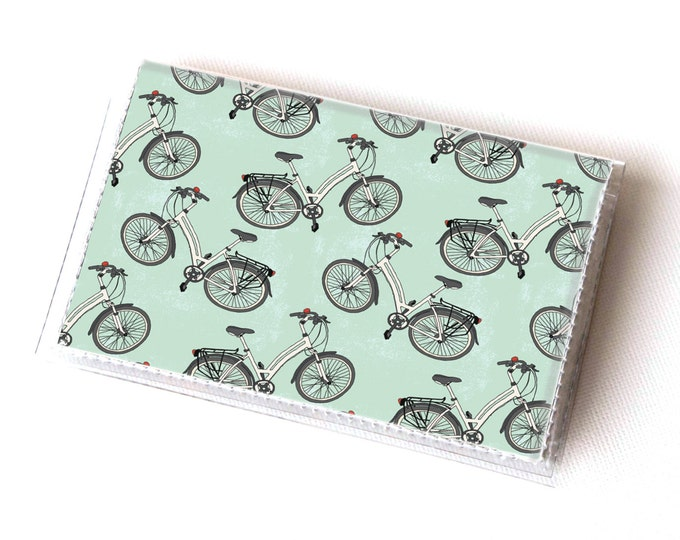 NEW Handmade Vinyl Card Holder - Cycle / vegan, bicycles, cyclist, bike, green, card case, vinyl wallet, women, men, gift, vegan
