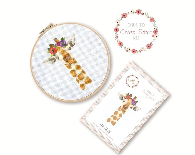 Counted Cross Stitch Kit - Giraffe / giraffe cross stitch pattern, craft kit, embroidery, pattern, gift, fun craft, nursery, baby gift