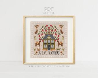 Autumn Sampler Cross Stitch Pattern PDF