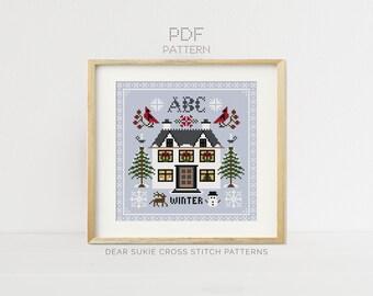Winter Season Sampler Cross Stitch Pattern PDF