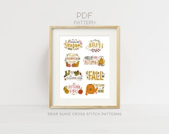 PDF Counted Cross Stitch - Cozy Autumn Collection / fall cross stitch, embroidery, pattern, pumpkin, leaves, season, acorns, forest, tea