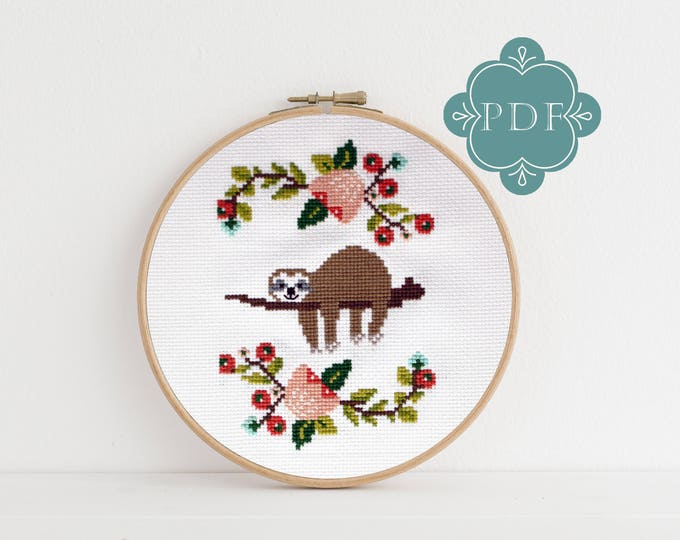 PDF Counted Cross Stitch - Lazy Day / sloth cross stitch, diy, how-to, embroidery, pattern, gift, dmc, supply, instruction, baby, nursery,