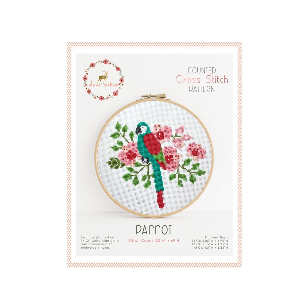 Counted Cross Stitch Pattern - Parrot / bird cross stitch, diy, how ...