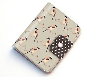 Handmade Vinyl Passport Case - Geometric Birds / traveller, passport, adventure, gift, vinyl, woman's, wallet, bird, woodland, floral,