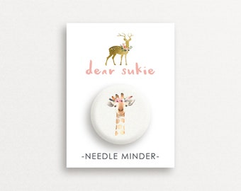 Needle Minder - Giraffe, giraffe needle minder, cute,  embroidery, cross stitch, needlework, supplies, xstitch, dear sukie, magnet, gift