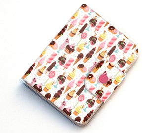 Handmade Vinyl Passport Case - Ice Cream and Sweets / traveller, passport, adventure, gift, vinyl, woman's, wallet, treat, cupcake, baker