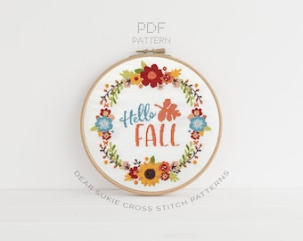 PDF Counted Cross Stitch - Hello Fall / cross stitch, diy, how-to, embroidery, pattern, gift, dmc, supply, instruction, wreath, autumn