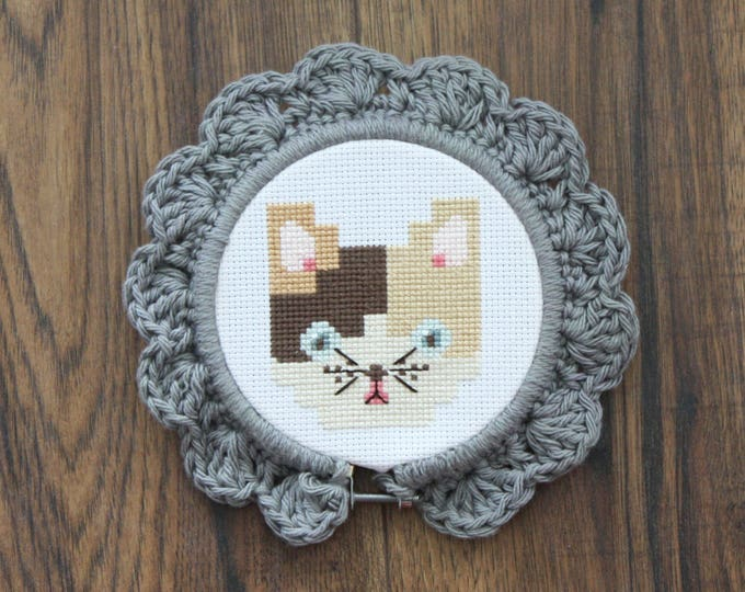 Handmade Crochet Embroidery Hoop Frame Grey Small - home decor, picture frame, framing, cute, baby gift, kid, decoration, little, nursery