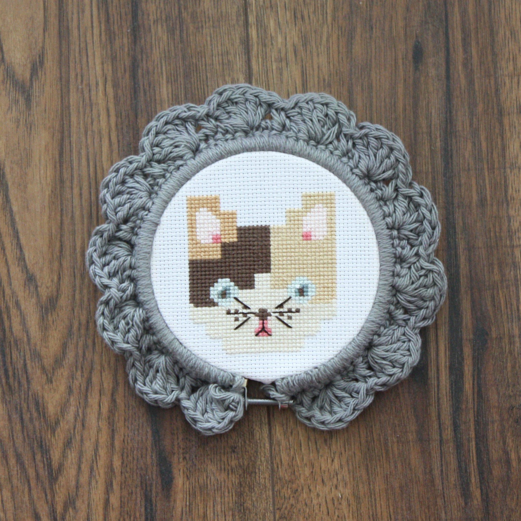 Handmade Crochet Embroidery Hoop Frame Grey Small - home decor ...