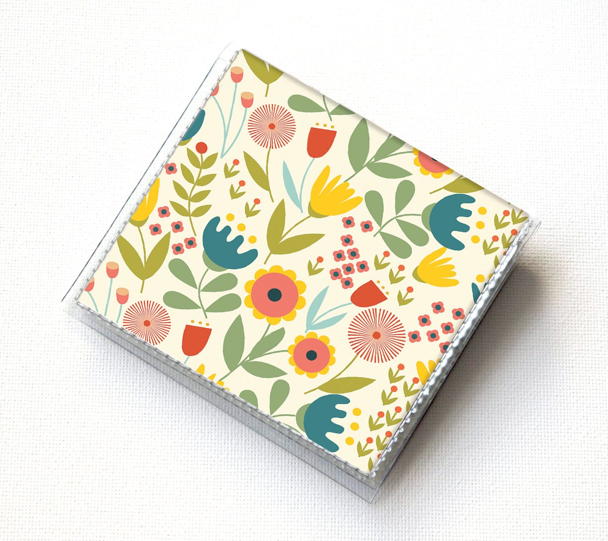Vinyl moo square card holder scandinavian summer1 snap mini vinyl moo square card holder scandinavian summer1 snap mini card case moo case small square gift floral flowers pretty folk reheart Images