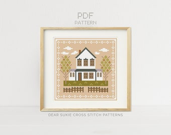 PDF Counted Cross Stitch - Farmhouse / folk art cross stitch, how-to, embroidery, pattern, supply, instruction, farmhouse, farm, country,