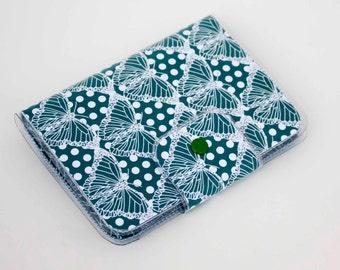 Handmade Vinyl Passport Case - Butterflies Blue / traveller, passport, vinyl, gift, womans, wallet, insect, butterfly, blue, nature, pretty