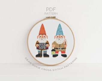 PDF Counted Cross Stitch - Garden Gnomes / gnome cross stitch, how-to, embroidery, pattern, dmc, supply, instruction, gift for gardener