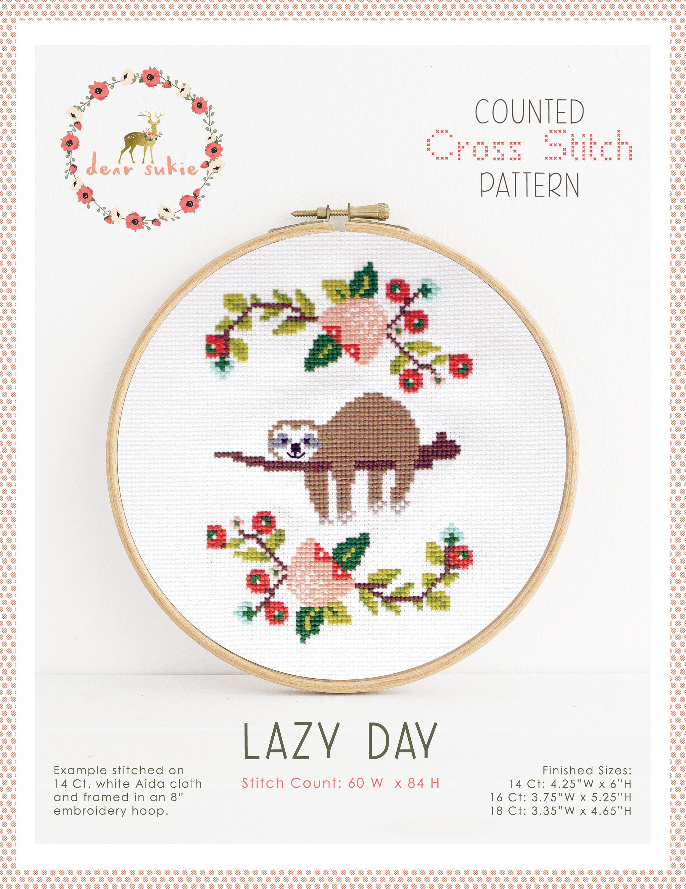 PDF Counted Cross Stitch - Lazy Day / sloth cross stitch, diy, how ...