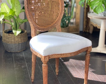 Antique Handmade French Cane Boudoir Chair