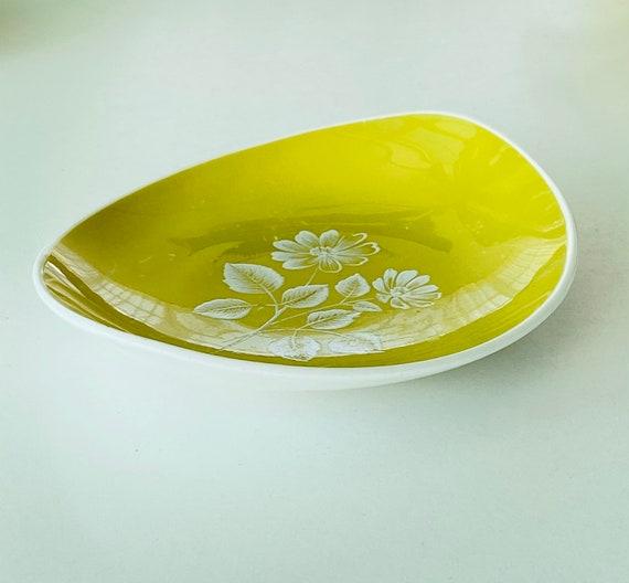 Vintage Adderley Floral Chartreuse Ring Dish - image 7