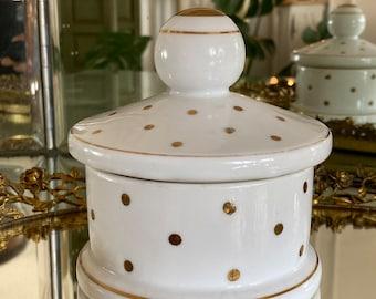 Vintage Gold Polka Dot Porcelain Powder Box