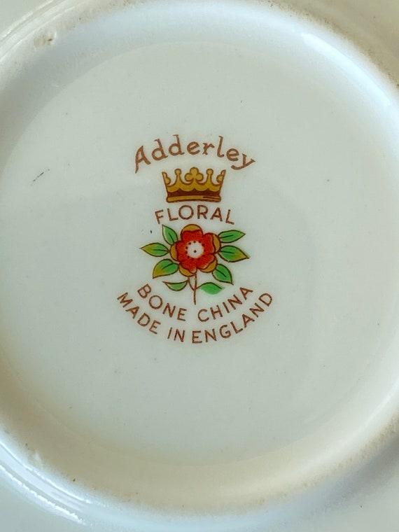 Vintage Adderley Floral Chartreuse Ring Dish - image 3