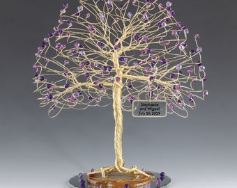 Tree Cake Topper Purple Personalized Wedding Cake Topper Silver Gold Copper Tone Wire Swarovski Crystal Elements Amethyst Tanzanite P Velvet