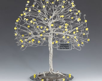 Tree Cake Topper Yellow Gray Personalized Wedding Cake Topper Silver Gold Copper Tone Wire Swarovski Crystal Elements Citrine Black Diamond