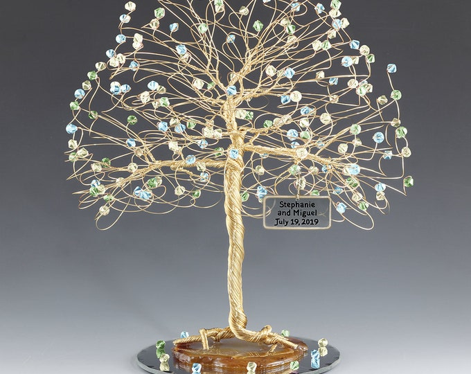 Tree Cake Topper Yellow Blue Green Personalized Wedding Cake Topper Silver Gold Copper Tone Wire Swarovski Crystal Elements Aqu Jonq Peridot