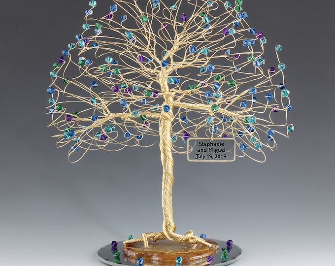 Tree Cake Topper Blue Purple Green Personalized Wedding Cake Topper Silver Gold Copper Tone Wire Swarovski Crystal Elements Peacock