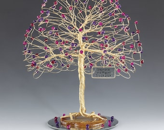 Tree Cake Topper Red Purple Personalized Wedding Cake Topper Silver Gold Copper Tone Wire Swarovski Crystal Elements Fuschia Ruby Purple Vel