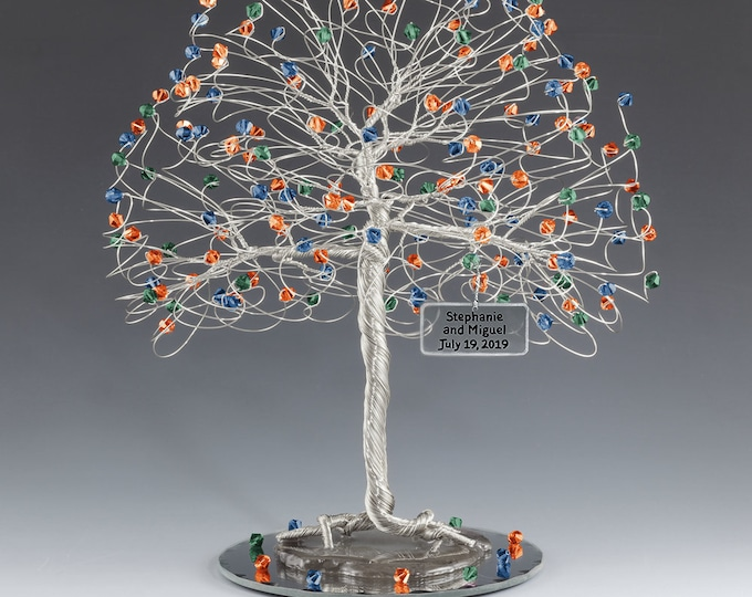 Tree Cake Topper Blue Green Orange Personalized Wedding Cake Topper Silver Gold Copper Tone Wire Swarovski Crystal Elements Capri Emld Fopal