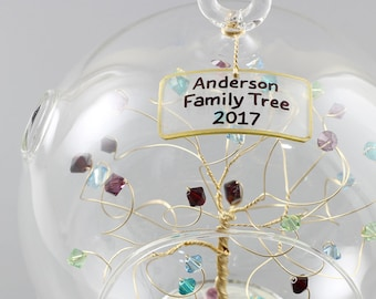 Family Ornament 2018 Family Birthstone Ornament Personalized Christmas Ornament with Custom Birthstones in Swarovski Crystal Elements