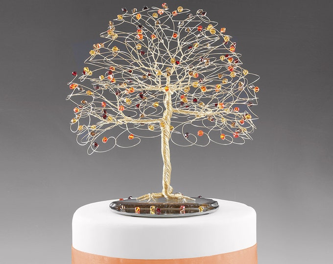 Fall Tree Cake Topper with Swarovski Crystal Topaz, Siam, Fireopal, Smoked Topaz on Gold tone Wire Decor Wedding Cake Topper
