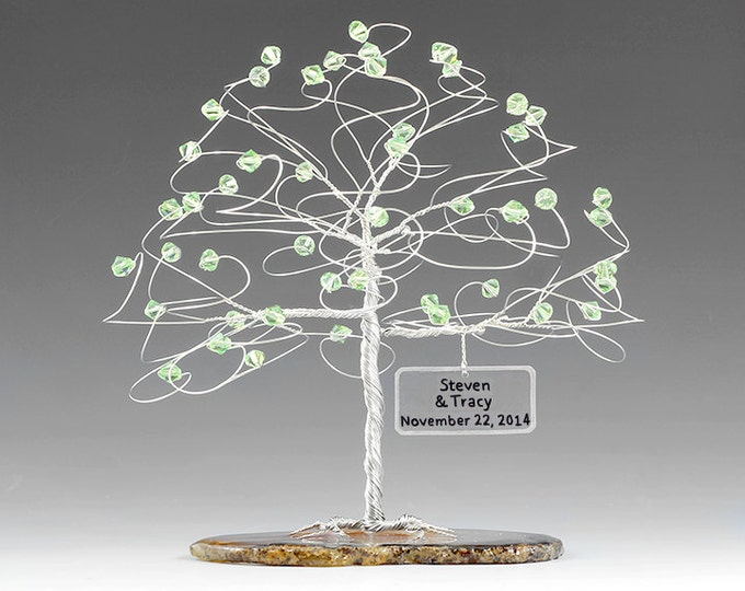 "Personalized Tree Cake Topper Wedding Sculpture Size 6"" x 6"" in Swarovski Crystal Elements Custom Color Beads and Silver Copper or Gold Wire"
