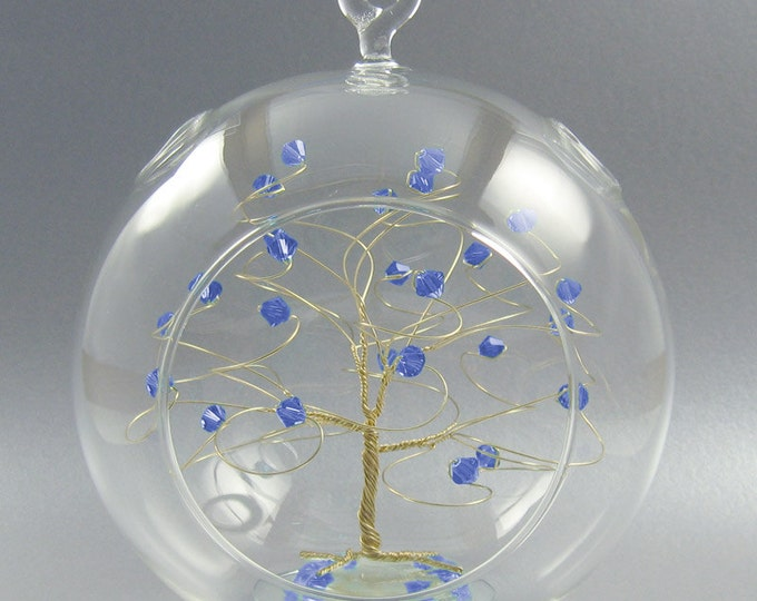 Christmas Ornament  Sapphire Blue Swarovski Crystal Elements and Gold September Crystal Christmas Ornament