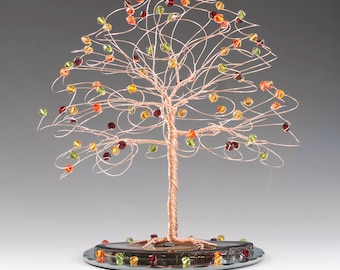 "Fall Tree Wedding Cake Topper 7"" x 7"" with Genuine Swarovski Crystal Elements choice of Silver Gold Copper"