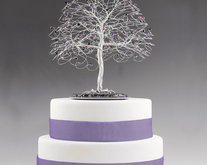 Tree Cake Topper with Swarovski Crystal Elements Purple Velvet, Amethyst, Jet Black on Silver tone Wire Decor Wedding Cake Topper Gothic