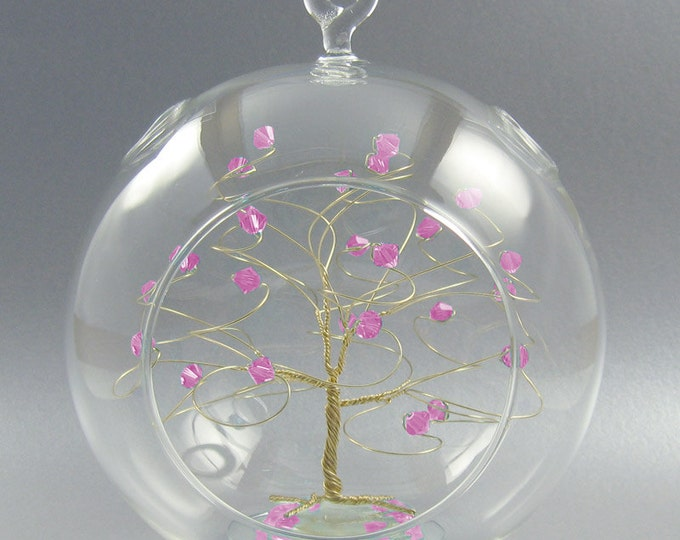 October Birthstone Christmas Ornament Rose Pink Swarovski Crystal Elements on Gold Silver or Copper Optional Personalized Sign 2018 2019