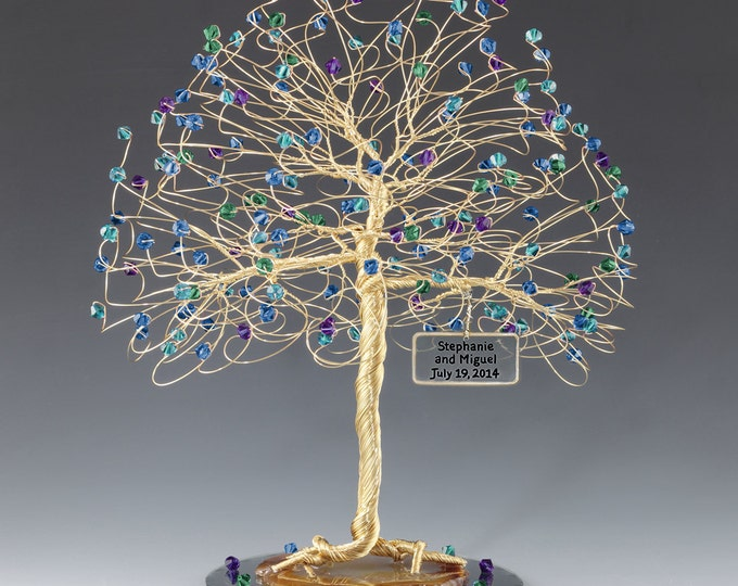 Tree Cake Topper CUSTOM Personalized Wedding Sculpture 8x9 Swarovski Crystal Elements in Your Choice Colors Gold Silver Copper Tone Wire