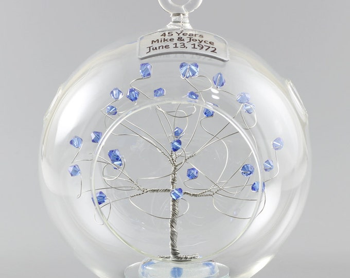 45th Anniversary Gift Personalized Ornament Idea with Sapphire Swarovski Crystal Elements on Silver Wire