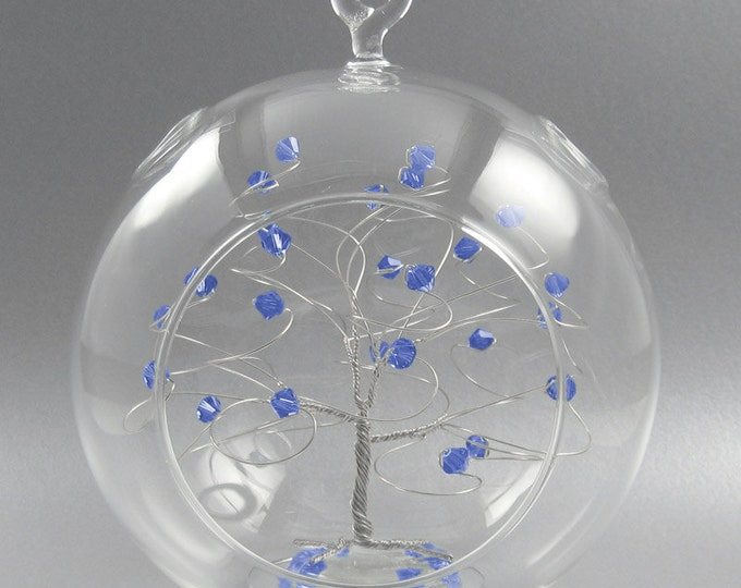 Glass Christmas Ornament  Sapphire Blue Swarovski Crystal Elements and Silver September Crystal Christmas Ornament