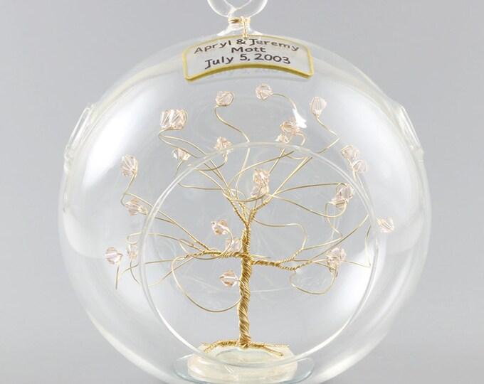 Personalized Wedding Gift Ornament Keepsake Swarovski Crystal Elements Personalized Custom Christmas Ornament