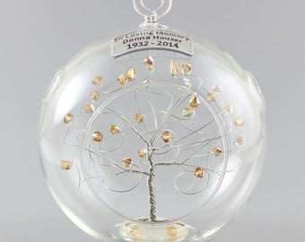 memorial ornament in loving memory personalized gift silver tree w swarovski crystal elements infant spouse grandparent loved one sympathy - Christmas Decorations In Memory Of A Loved One
