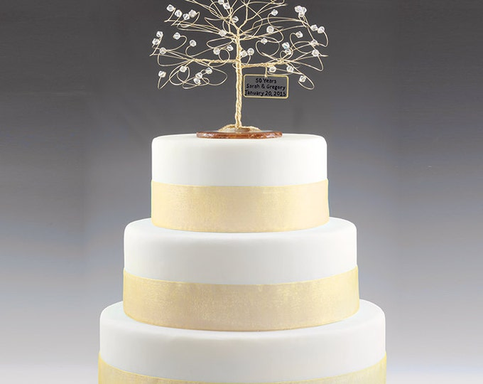 "Personalized 50th Anniversary Cake Topper Tree Gift Idea Clear Swarovski Crystal Elements on Gold 6"" with Optional Mirror"