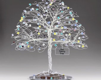 "Personalized Family Tree Sculpture with Swarovski Crystal Elements Birthstones 8"" x 9"" Mother's Day Anniversary Birthday Christmas Gift Idea"