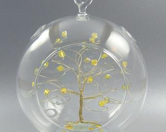 Christmas Ornament Citrine Yellow Swarovski Crystal Elements and Gold November Crystal Christmas Ornament