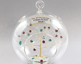 Our First Christmas 2018 Ornament Engagement Just Married Ornament Personalized Birthstone Tree Custom Gift Idea Swarovski Crystal Elements