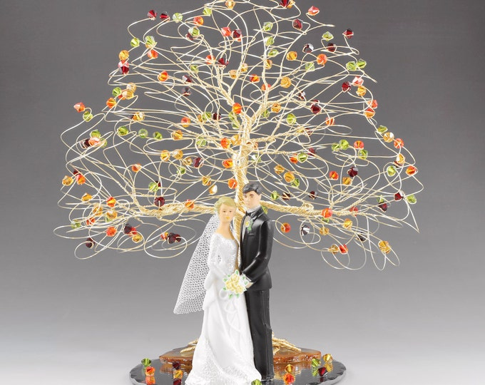 Fall Wedding Cake Topper Tree Cake Topper 8x9 in Genuine Swarovski Crystal Elements with Bride Groom Figurine Fireopal Siam Topaz Olivine