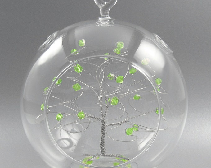 Christmas Ornament Peridot Green Swarovski Crystal Elements and Silver August Crystal Christmas Ornament
