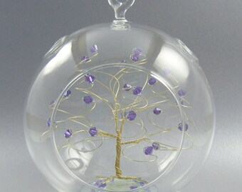 June Birthstone Christmas Ornament Tanzanite Swarovski Crystal Elements on Gold Silver or Copper Optional Personalized Sign 2018