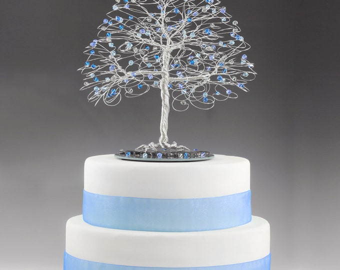 Wedding Tree Cake Topper with Swarovski Crystal Elements Sapphire, Capri Blue, Aquamarine, Grey Black Diamond on Silver tone Wire Decor